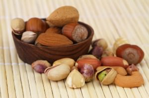 Mixed nuts and almonds, close up